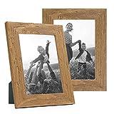 Photolini Set di 2 cornici per Foto da 13x18 cm Bianco Sabbia Rustico Rovere Naturale in Legno Massiccio con lastra in Vetro e Accessori Inclusi/portafoto