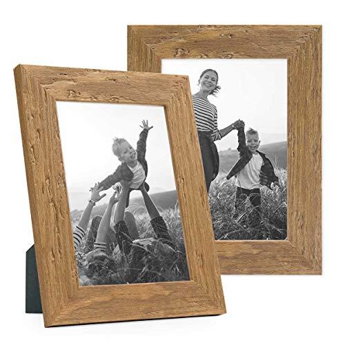 PHOTOLINI 2er Set Bilderrahmen 10x15 cm Strandhaus Rustikal Eiche-Optik Natur Massivholz mit Glasscheibe inkl. Zubehör/Fotorahmen