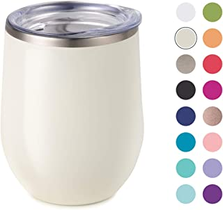 Maars Bev Stainless Steel Stemless Wine Glass Tumbler with Lid, Vacuum Insulated 12 oz Pearl Cup | Spill Proof, Travel Friendly, Classic Cocktail Drinkware
