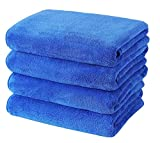 Gryeer Microfibre Bath Towels, Soft, Ultra Absorbent and Lint Free Towel Set, 75 x 150 cm, Pack of 4, Blue