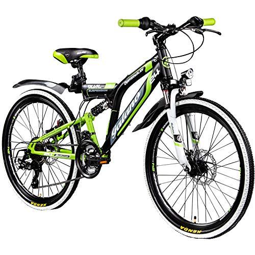 Galano 24 Zoll MTB Fully Adrenalin DS Mountainbike STVZO Jugendfahrrad, Farbe:Schwarz/Grün