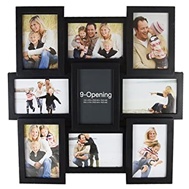 Melannco 9-Opening Puzzle Collage Picture Frame, Black