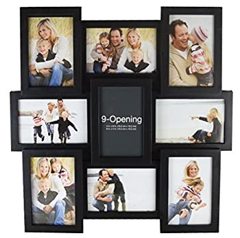 MELANNCO 5184034 9-Opening Puzzle Collage Picture Frame Black