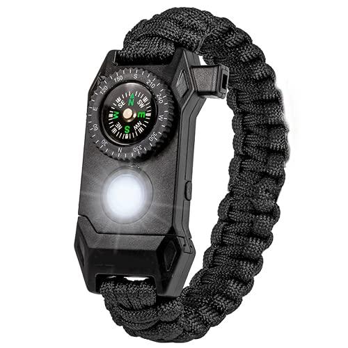 Pulseras, pulsera de supervivencia para hombre, con luces LED, brújula, medidor de calor, silbato, utilizado para acampar, aventuras, etc negro