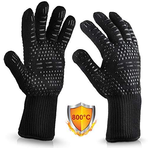 Vemingo feuerfeste Handschuhe Grillhandschuhe 800 Grad Hitzebeständig Ofenhandschuhe Kochhandschuhe Backhandschuhe für BBQ Backen, aus Silikon/Deyan-Faser/Baumwolle 33CM lang, Schwarz-Streifen
