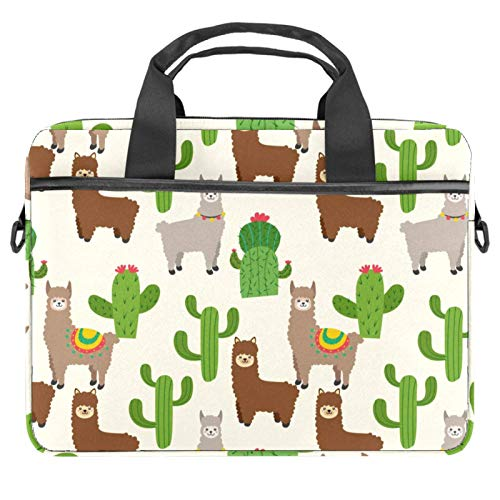 Laptop Bag Brown Grey Alpaca Pattern Cactus Notebook Sleeve with Handle 13.4-14.5 inches Carrying Shoulder Bag Briefcase
