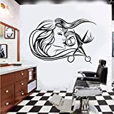 wukongsun Frauen Friseursalon Wandtattoo Friseur Friseur Schere Haarschnitt Friseursalon Wandaufkleber Vinyl 45 cm x 30 cm