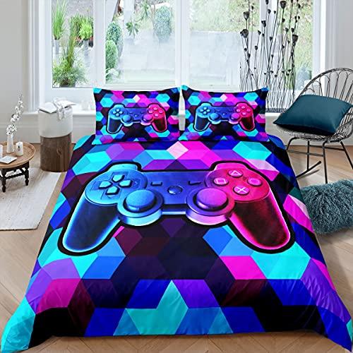 Juego de ropa de cama y lino de nido de abeja juego de cama para niños y niñas y niños, juego de cama de videojuegos, diseño hexagonal, ropa de cama y lino colorido tamaño individual, 2 piezas
