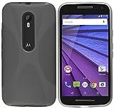 kazoj Schutzhülle kompatibel mit Motorola Moto G3 (3. Generation) Hülle im X-Design aus TPU in transparent schwarz