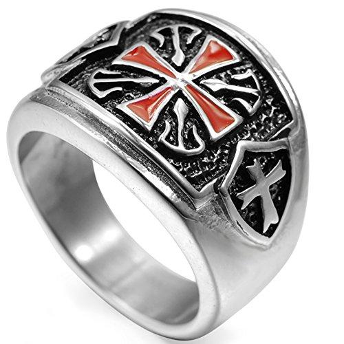 Jude Jewelers Stainless Steel Crusader Cross Ring (9)