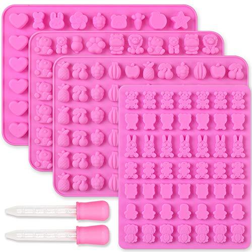 Cozihom Lot de 4 moules en silicone pour chocolat, bonbons et animaux