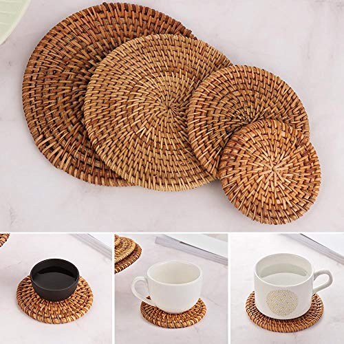 JIAYAN 1 Pc Round Natural Rattan Coasters Bowl Pad Handmade Insulation Placemats Table Padding Cup Mats Kitchen Decoration Accessories