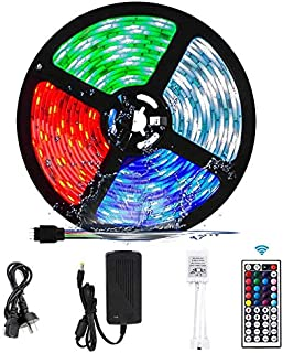RGB LED Strip Lights, VIPMOON 5M/16.4ft 300LEDs SMD 5050 Waterproof LED Strip with 44-Key RF Controller Color Changing Rop...
