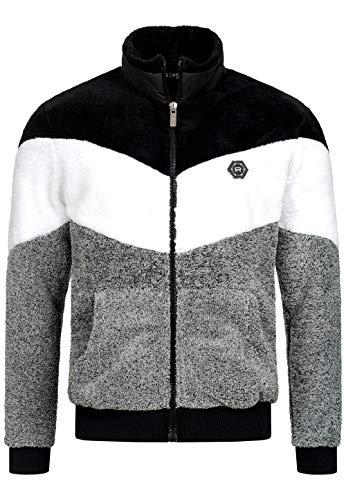 Redbridge Teddyfell Jacke für Herren warme Sweatjacke mit Reißverschluss Design Arrow Schwarz XL