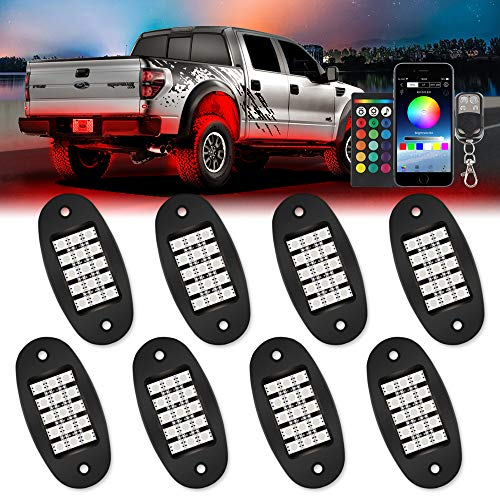 TACHICO RGB LED Rock Lights with APP/Double RF Remote Control,120 LEDs Multicolor Underglow Neon IP68 Flashing Music Timing Mode Light Kits for Jeep Off Road Truck ATV Motorcycle, DC 12V(8 Pods)