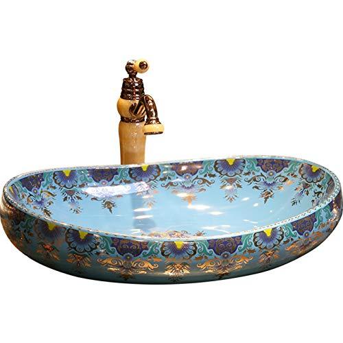 YRRA Oval Bathroom Sink, Ceramic Modern Above Counter Bathroom Vanity Bowl Pop Up Drain Without Overflow for Bathroom Lavatory Vanity Cabinet, Blue,Basin + Faucet Set