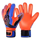Goalie Gloves for Youth & Adult, Goalkeeper Gloves Kids with Finger Support, Black Latex Soccer Gloves for Men and Women, Junior Keeper Football Gloves for Training and Match (Blue-Orange Size 7)