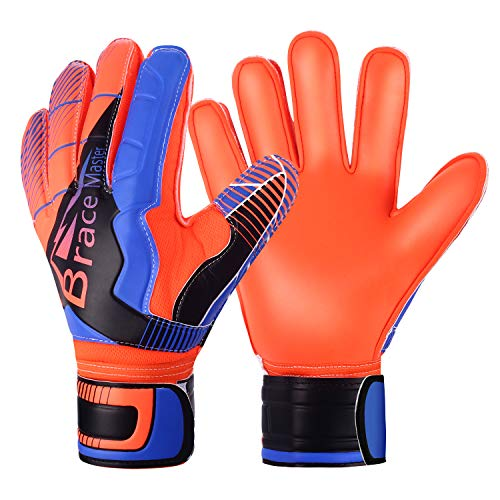 Brace Master Goalie Goalkeeper Gloves for Youth and Adult, with Strong Grip and Finger Spines Protection,Soccer Keeper Gloves for Men and Women, Training and Match, Indoor and Outdoor (Blue-Orange 7)