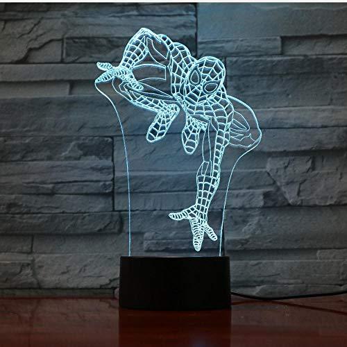 Lámpara de ilusión Luz de noche 3D Dormitorio creativo Led Lámpara de mesa Spider Touch Carga Regalo Colorido Niños Luz de noche Iluminación para el hogar Decoración