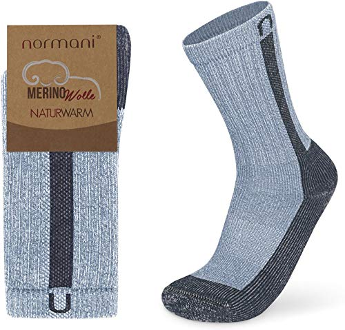 normani 2 Paar Merino Wander- und Arbeitssocken Extrem Stabil für Outdoor Aktivitäten Farbe Blau/Grau Größe 43-46