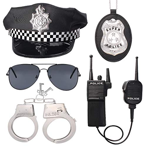 Beelittle Police Officer Role Play Kit Police Hat Handcuffs Walkie Talkies Policeman Badge Sunglasses Police Costume Accessories for Cop Swat FBI Halloween Party Dress up (A)