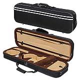 MI&VI Super Lightweight 3lb Sturdy Violin Travel Case 4/4 (Full Size) With Reflective Safety Strips | Hygrometer | Adjustable Shoulder Straps | Hard-Shell | High-Density Foam - By MIVI Music (Black)