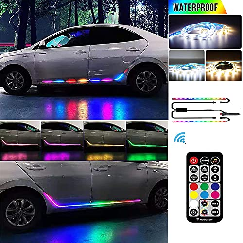 Car Running Board Lights,Car LED Strip Light,59''Multi-mode,7 colors, 40 non-music modes and 20 music modes, wireless remote control Car Neon Lights,side door skirts for Trucks, SUV, Cars(DC 12V,2pcs)