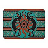 Bath Mat Teal Southwestern Kokopelli Southwest Design Native American Indian Flute Bathroom Decor Rug 16' x 24'