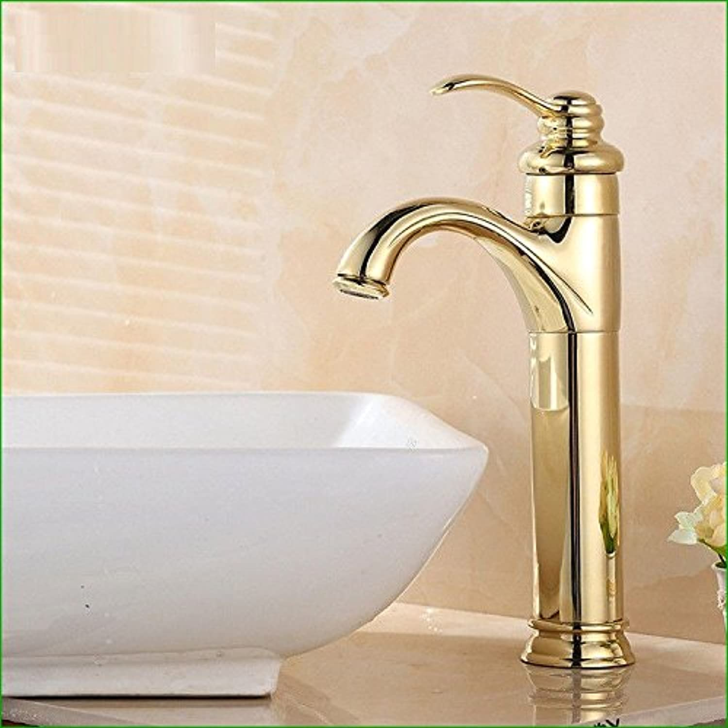 Bijjaladeva Antique Kitchen Sink Mixer Tap gold Plated hot and Cold Water Basin Kitchen Faucet Basin Single-in-Water Faucet