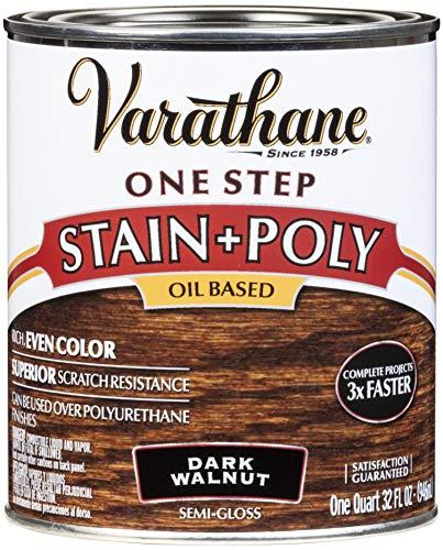 Varathane 225250H One-Step Wood Stain & Polyurethane, Quart, Dark Walnut