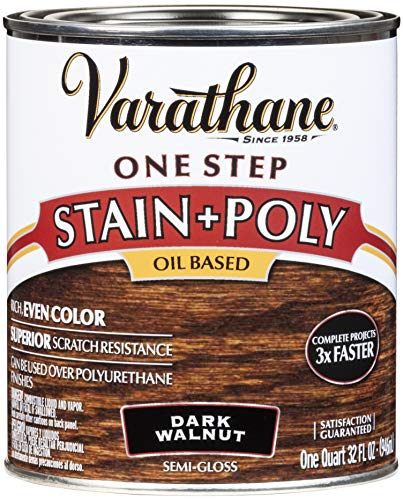Varathane 225250H One-Step Wood Stain & Polyurethane, Quart, Dark Walnut