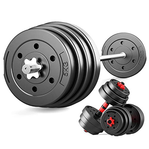 Adjustable Weights Dumbbells Set, Training Suitable for Men and Women 2 Pieces/Set, Barbell Lifting W/ 4 Spinlock Collars & 2 Connector Options, Plate for Gym Home,Two Weights,20 kg
