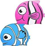 Gorros de Natación para Niños, 2 Piezas Silicona Dibujos Animados Patrón Gorra de Natación Antideslizante Impermeable Gorra de Natación para niños y niñas