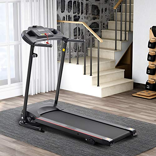 """Merax Folding Electric Treadmill Running Machine for Home with 3 Manual Inclines and 5"""" LCD Display, Black"""