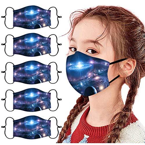 5 Stück Kinder Mundschutz Multifunktionstuch 3D Cartoon Druck Bandana Maske Waschbar Stoffmaske Baumwolle Atmungsaktiv Mund-Nasen Bedeckung Universum Planet Motiv Halstuch Schals Jungen Mädchen