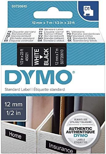 DYMO D1-Etiketten selbstklebend (weißer Druck auf schwarzem Untergrund, 12 mm x 7 m, für LabelManager-Etikettendrucker, authentisches Produkt)