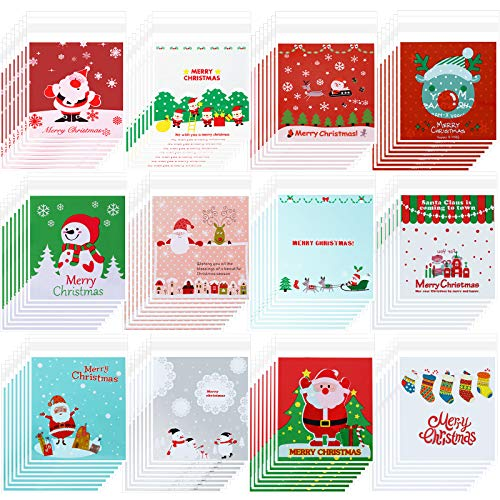300 Pieces Christmas Cellophane Bags Xmas Treat Candy Cookie Biscuit Bags Self-Adhesive Plastic Present Bags for Christmas Party DIY Supplies Favor, 12 Styles