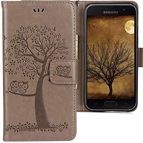 CLM-Tech kompatibel mit Samsung Galaxy A3 (2017) Hülle Tasche aus Kunstleder, Leder-Tasche Lederhülle, Baum Eule grau