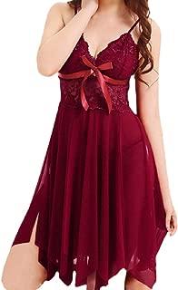 HAPPIShare Women Sexy Lingerie V Neck Nightwear Satin Sleepwear Lace Chemise Mini Teddy Babydoll