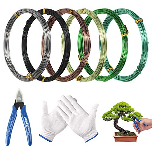 MEZOOM 6 roll Bonsai Aluminiumdraht, Handwerk Aluminium Draht mit Drahtschneider Handschuhe Korrosions 6 Farben 1 mm für Pflanzen Bäume Bonsai Geäst DIY Handwerk(10m)