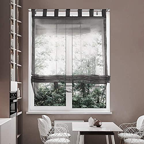 i@HOME Voile Raffrollo 80 x 155 cm Raffrollo ohne Bohren Raffgardine mit Schlaufen Fenstervorhang Scheibengardinen Rollos Schlaufen Transparent Vorhang für Fenster