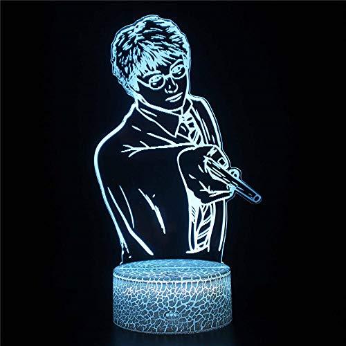 Luz nocturna 3D, lámpara de ilusiones con mando a distancia, 16 colores multicolores, con cambio USB, lámpara de mesa LED de mesa, decoración para niños, Navidad, Halloween, cumpleaños, Harry