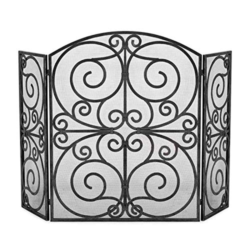 Fire Place Panels 3 Panel Fireplace Screen Fire Place Doors Wrought Iron Hollow Carved Fire Place Gate Screens Rustic Worn Finish Mesh Indoor Large Flat Guard Home Decor Accessories Fireplace Screen
