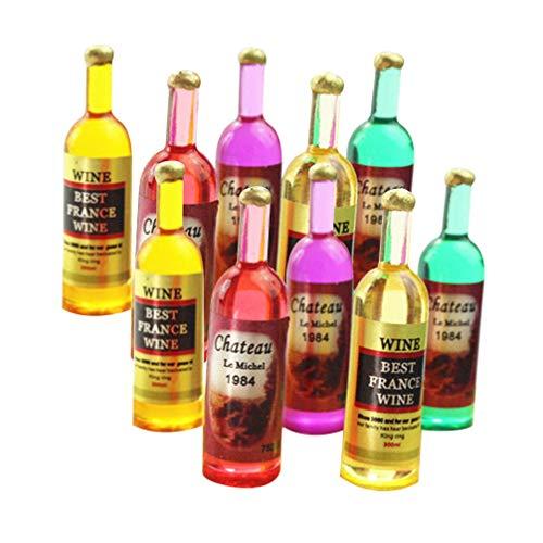 Supvox Juego de 12 botellas de vino en miniatura 1:12, decoración para casa de muñecas, decoración para casa de muñecas, decoración en miniatura, juguete para niños, estilo 2