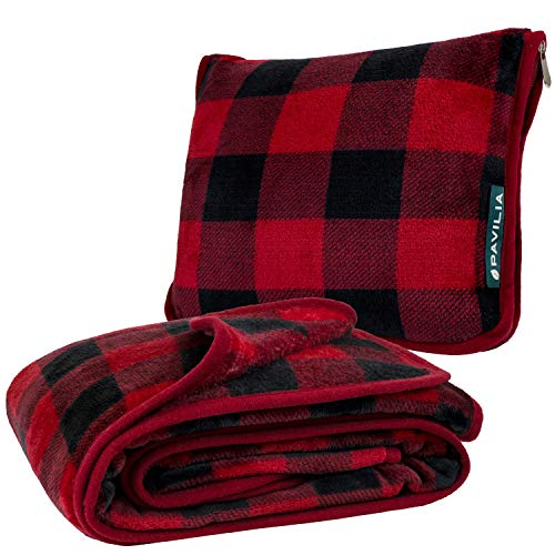 PAVILIA Travel Blanket and Pillow | Warm Soft Fleece 2-in-1...