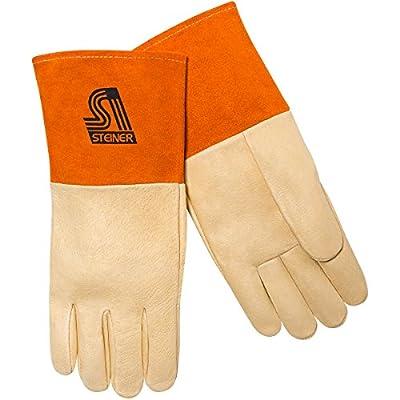 Steiner MIG Gloves, Grain Pigskin, Kevlar Lined Palm, 4-Inch Cuff