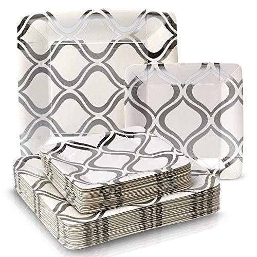 VAJILLA PARA FIESTAS DESECHABLE DE 36 PIEZAS | 18 platos grandes | 18 platos para ensalada/postre | Para bodas y comidas de lujo | Cuadrados de color plata metalizado - Moroccan Collection