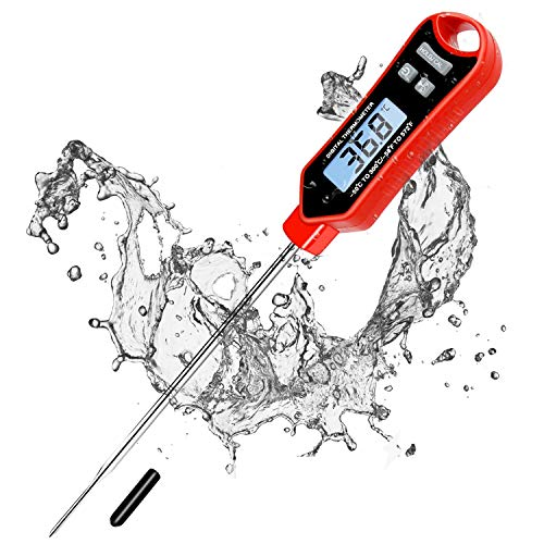 2020 Upgraded Waterproof Meat Thermometer with Long Probe Digital Instant Read Food Thermometer for Grilling Smoker BBQ Kitchen Cooking Candy Thermometer with Calibration