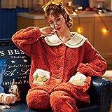 Ladies Comfy Pijamas Mujeres Soft,Traje de Franela Gruesa de Talla Grande de Invierno cálido, Servicio a Domicilio de Pijamas para Mujeres-XXL_RR,Manga Larga Franela Conjunto