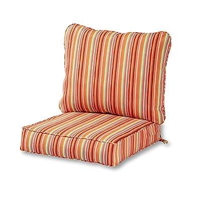 Greendale Home Fashions AZ7820-WATERMELON Coral Outdoor 2-Piece Deep Seat Cushion Set